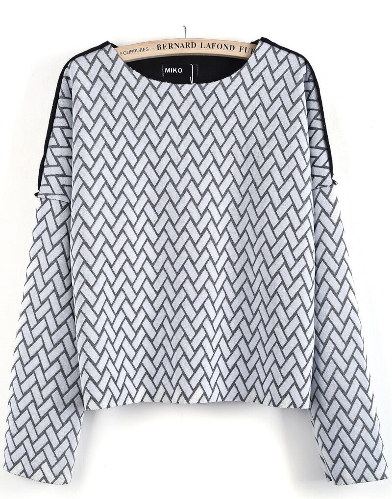 White long sleeve geometric pattern crop blouse shein for Long sleeve shirt pattern