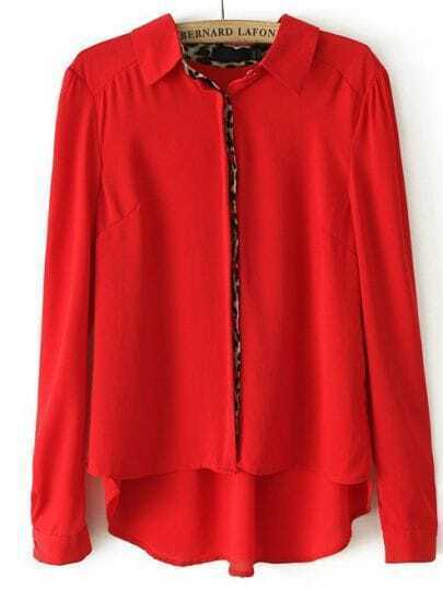 Red Long Sleeve Contrast Leopard Dipped Hem Blouse