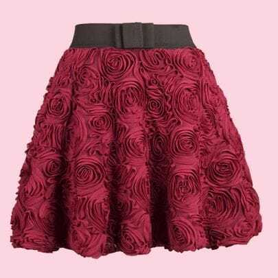 Wine Red Applique Bubble Skirt
