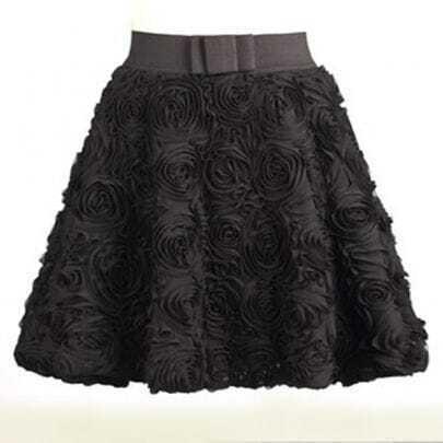 Black Red Applique Bubble Skirt