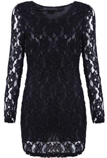 Black Long Sleeve Embroidered Lace Slim Dress
