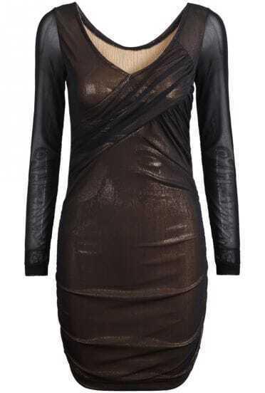 Gold Mesh Yoke Long Sleeve Elastic Bodycon Dress