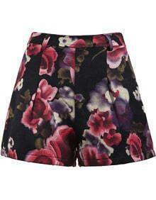 Red Vintage Floral Embroidered Shorts