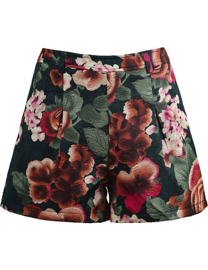 Green vintage floral embroidered shorts shein sheinside