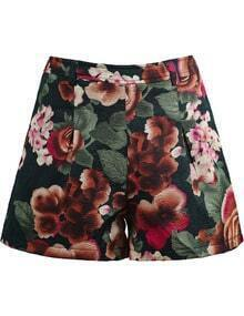 Green Vintage Floral Embroidered Shorts
