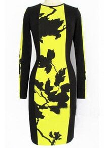 Yellow Black Long Sleeve Floral Bodycon Dress