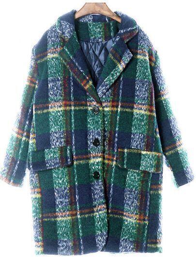 Abrigo suelto solapa cuadros manga larga-Verde