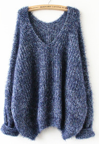 Navy Long Sleeve V Neck Oversize Mohair Sweater