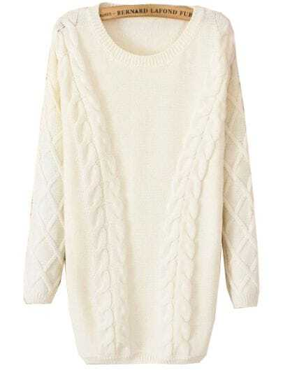 White Long Sleeve Cable Knit Loose Sweater -SheIn(Sheinside)