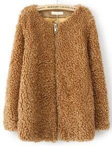 Khaki Long Sleeve Loose Faux Fur Coat