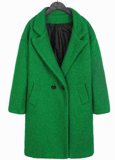Green Lapel Long Sleeve Slim Woolen Coat
