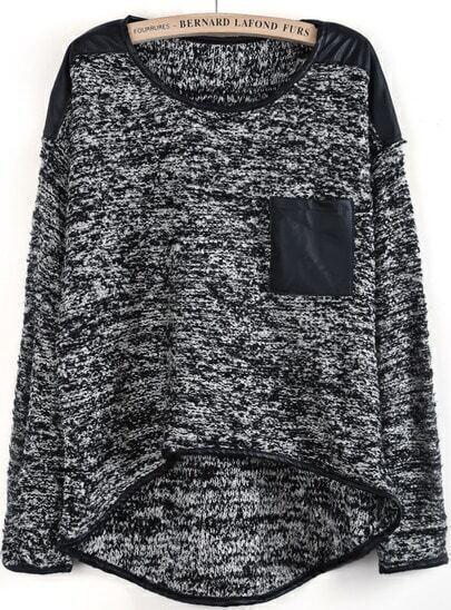 Grey Metallic Yoke Contrast PU Leather Dipped Hem Sweater