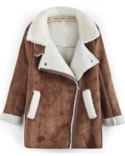 Camel Lapel Long Sleeve Wool Deerskin Coat