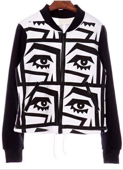 Black Long Sleeve Eyes Pattern Zip Jacket