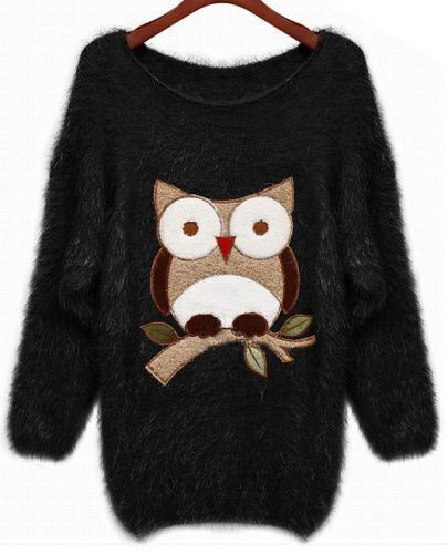 Black Batwing Sleeve Owl Patten Loose Sweater