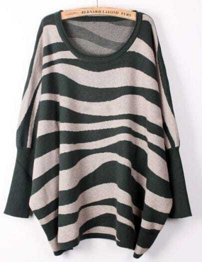 Green Apricot Batwing Sleeve Zebra Patten Loose Sweater