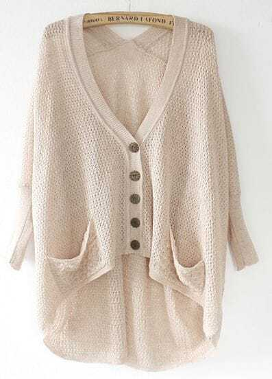 Apricot Batwing Sleeve Pockets Asymmetric Hollow Sweater