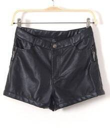 Black PU Leather Zip Pockets Shorts