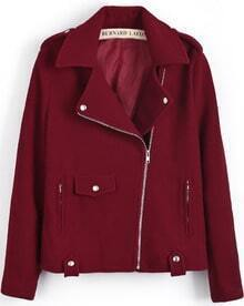 Red Lapel Oblique Zipper Woolen Crop Coat
