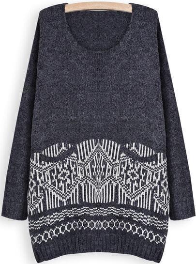 Grey Long Sleeve Geometric Pattern Loose Sweater