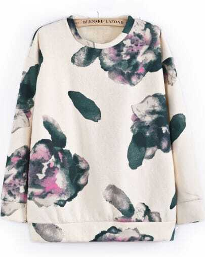 Apricot Long Sleeve Ink Floral Sweatshirt
