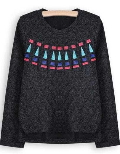 Black Diamond Patterned Embroidered Dipped Hem Sweatshirt