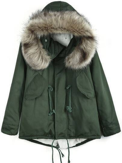 Army Green Faux Fur Hooded Drawstring Coat