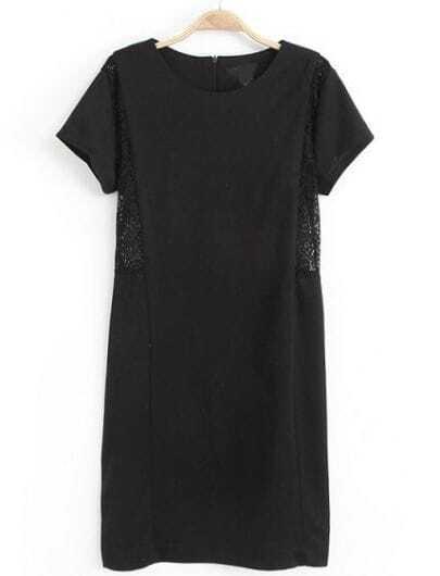 Black Short Sleeve Contrast Lace Bodycon Dress