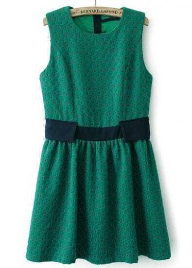 Vestido plisado topos sin manga-Verde