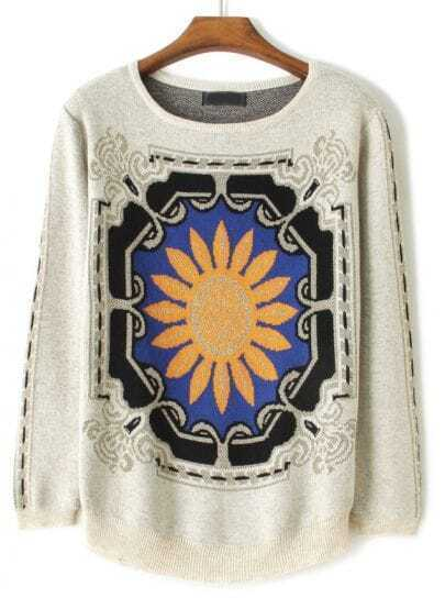 Apricot Long Sleeve Sunflower Print Sweater