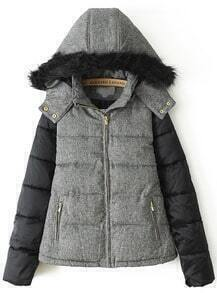 Grey Faux Fur Hooded Long Sleeve Parka