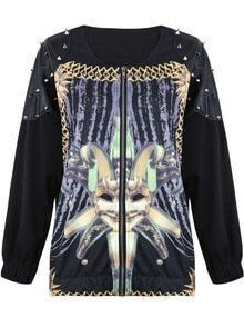 Black Long Sleeve Rivet Face Print Jacket