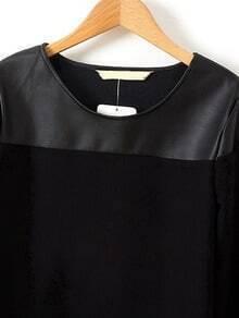 Блузка с кожаными вставками