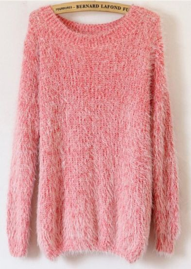 Pink Long Sleeve Fluffy Basic Loose Sweater -SheIn(Sheinside)