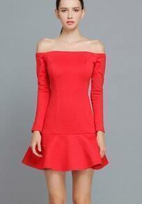 Red Long Sleeve Boat Neck Ruffle Dress