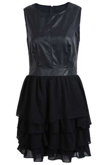 Black Contrast PU Leather Cascading Ruffle Chiffon Dress