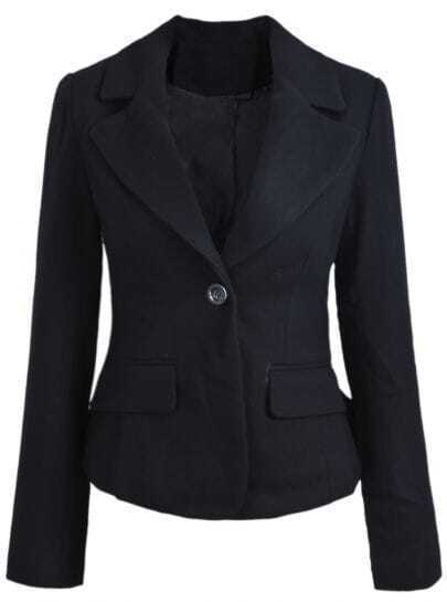 Black Notch Lapel Long Sleeve Crop Blazer
