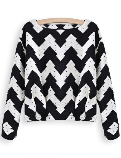 Black White Long Sleeve Geometric Print Crop Blouse
