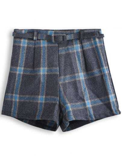 Grey Belt Plaid Skirt Shorts