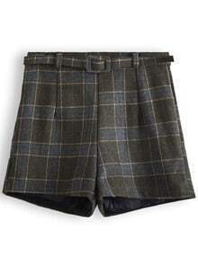 Army Green Belt Plaid Skirt Shorts