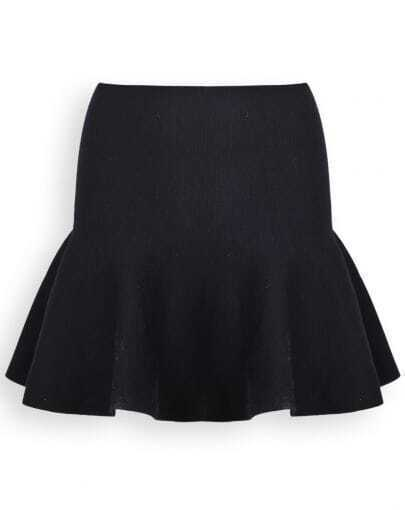 Black High Waist Zipper Ruffle Skirt