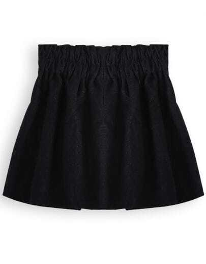 Black High Waist Woolen Pleated Skirt