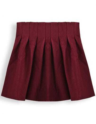 Red High Waist Woolen Pleated Skirt