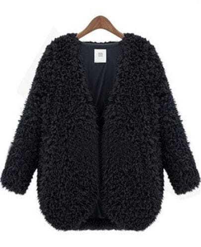 Black V Neck Long Sleeve Fluffy Crop Coat -SheIn(Sheinside)