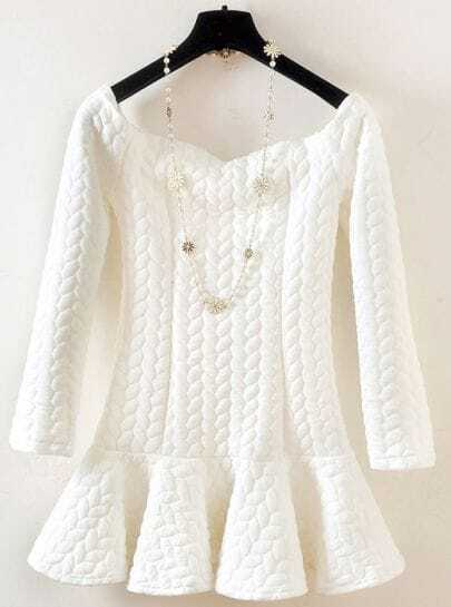 White Long Sleeve Twisted Pattern Ruffle Dress