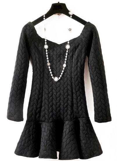 Black Long Sleeve Twisted Pattern Ruffle Dress