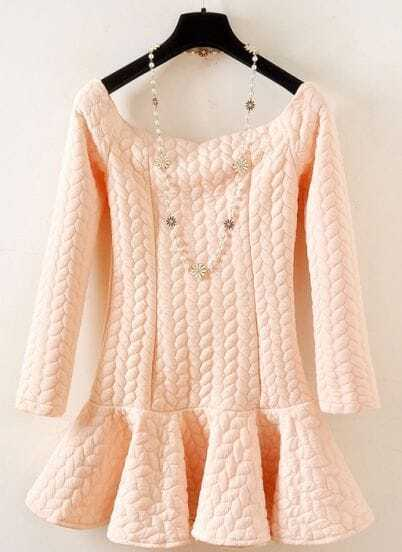 Pink Long Sleeve Twisted Pattern Ruffle Dress