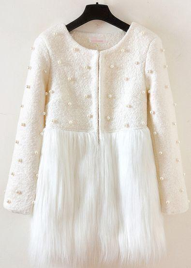 Beige Long Sleeve Bead Contrast Faux Fur Coat