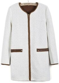 Apricot Long Sleeve Contrast Khaki Woolen Coat