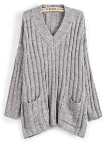 Grey Sweet Heart Neck Pockets Loose Sweater
